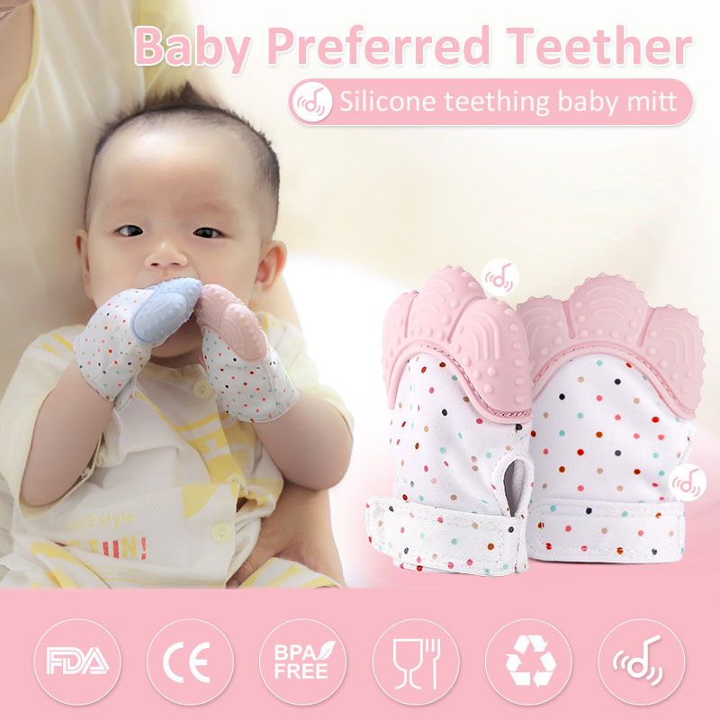 Baby Kid Silicone Teether Cow Pattern Mitten Teething Anti-bite Teether Toy