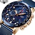 LIGE 2019 новый синий полный стальной сетчатый ремень деловые часы мужские часы лучший бренд класса люкс Модные Кварцевые Золотые часы Relogio ...