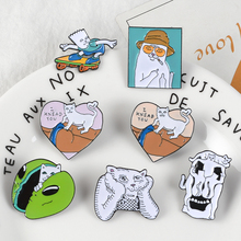 Funny Cats Enamel Pins Middle Finger Cat Animal Badge Brooches Lapel Denim Shirt Bag Cartoon Fashion Jewelry Gift Friends