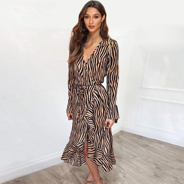 Long Dresses 2019 Women Zebra Print Beach Bohemian Maxi Dress Casual Long Sleeve V Neck Ruffles Elegant Party Dress Vestidos
