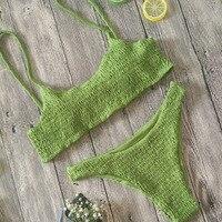 New Hot Sale Sexy Women Push-up Padded Bra Bikini Set Pleated Swimsuit Swimwear Swimming Beach Bathing Costume Bikini Set 2