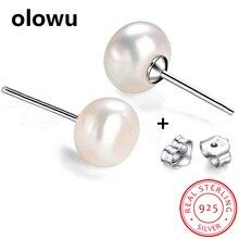 Olowu, настоящие серьги из натурального пресноводного жемчуга для женщин, 925 пробы, серебряные серьги-гвоздики, белый, розовый цвет, 7-8 мм
