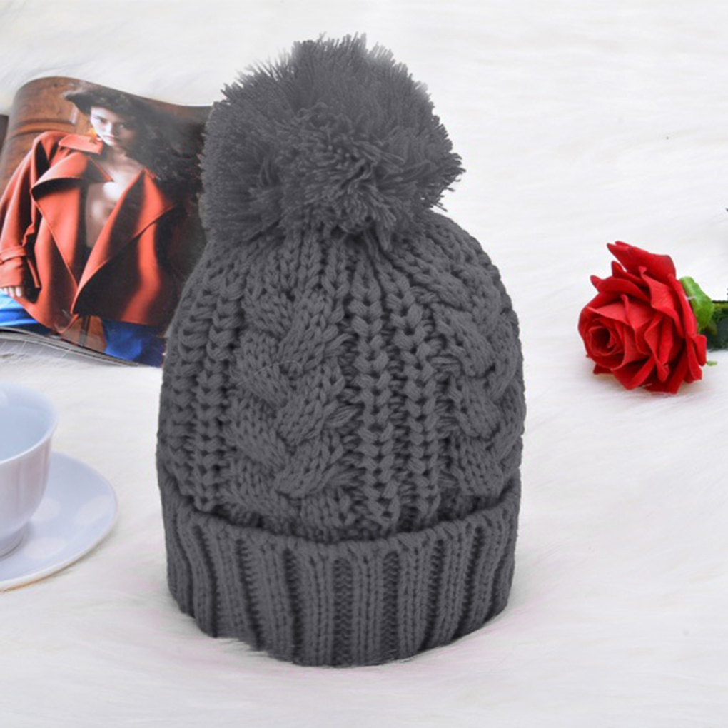 2Pcs/set Winter Autumn Knitted Beanies Hats Scarf Set Women Ski Pom Pom Skullies Solid Color Warm Knit  Cap