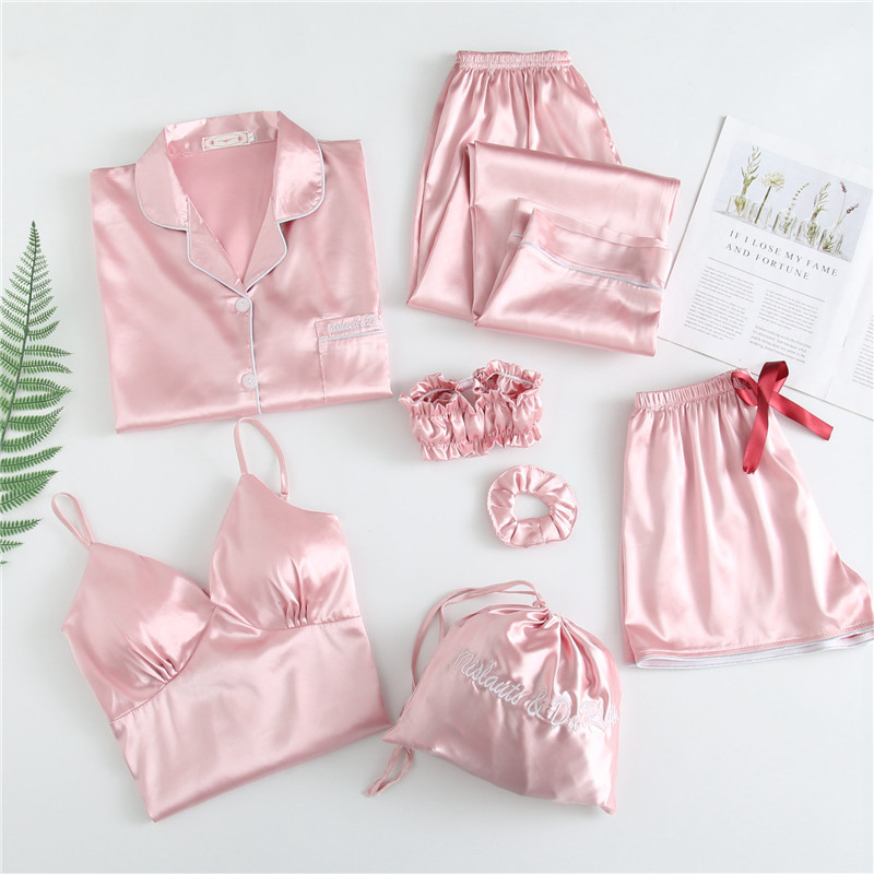 JULY'S SONG 7 Pieces Faux Silk Stain Pajamas Sets With Chest Pad Pyjama Sexy Sling Shorts  Long Sleeve Long Pants Sleepwear Top