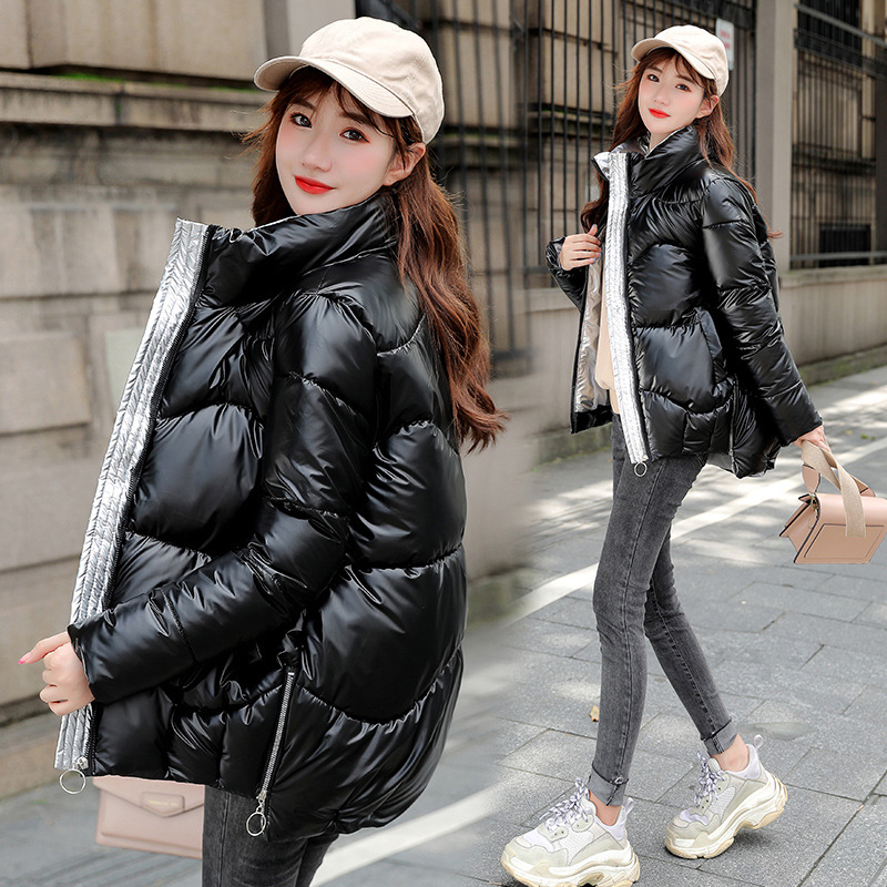 2020 New Women's Winter Coats Fashion Glossy Stand Collar Parkas Winter Jacket Women Shinny Padded Cotton Coat Plus Size 3XL