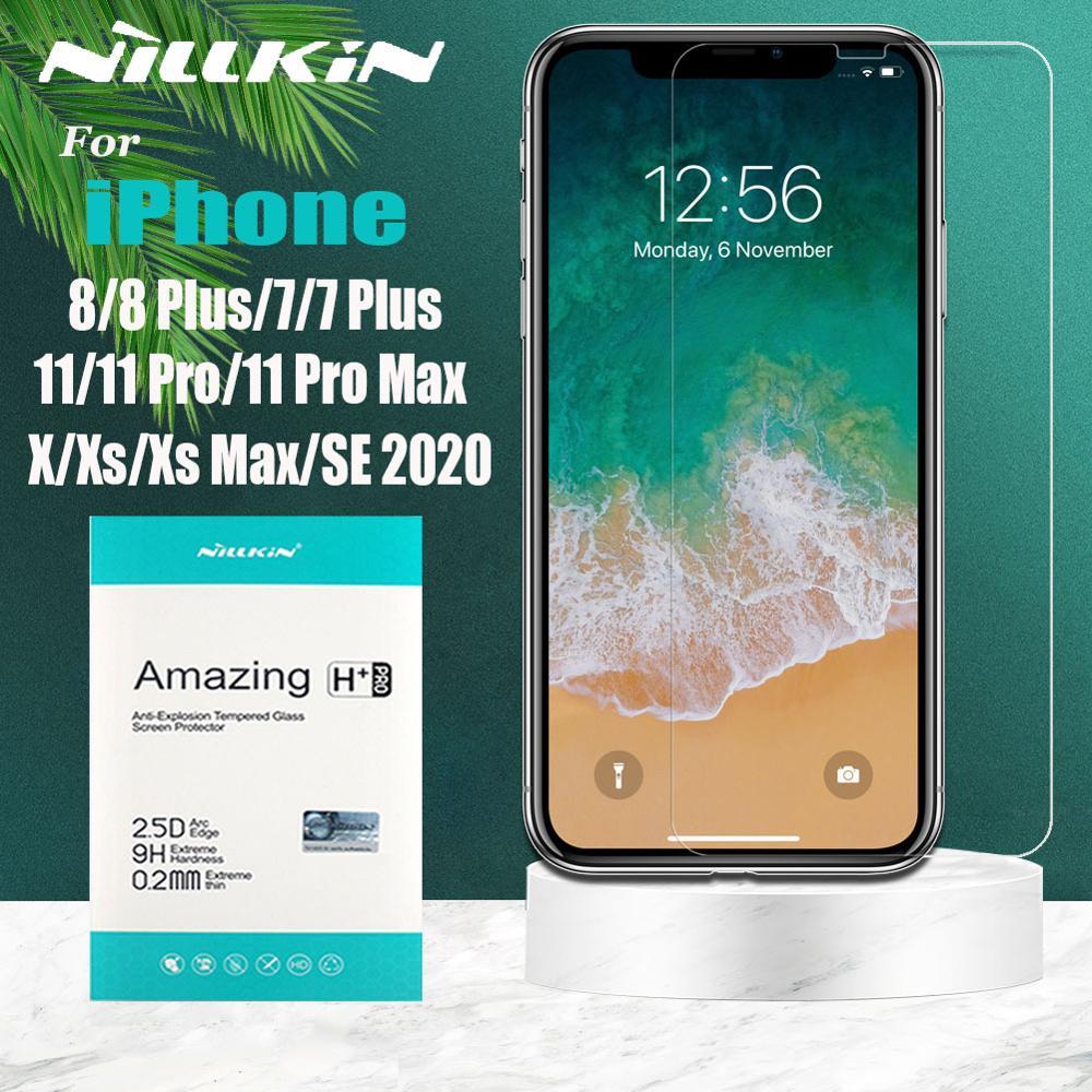 Nillkin para iPhone 12 Mini 12 11 Pro Max 12 11 X Xr Xs de Protector de pantalla de vidrio templado para iPhone 7 Plus 2020