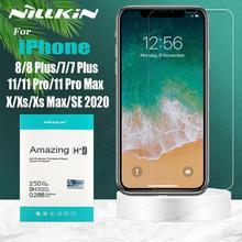 Nillkin for iPhone 12 Mini 12 11 Pro Max 12 11 X Xr Xs 유리 스크린 보호기 iPhone 8 7 Plus SE 2020 용 안전 강화 유리