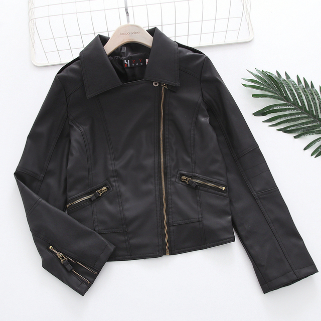 Jocoo Jolee Women PU Faux Leather Coat Autumn Winter Zipper Soft   Leather Jackets Black Slim Cool Lady PU Leather Jackets 2019