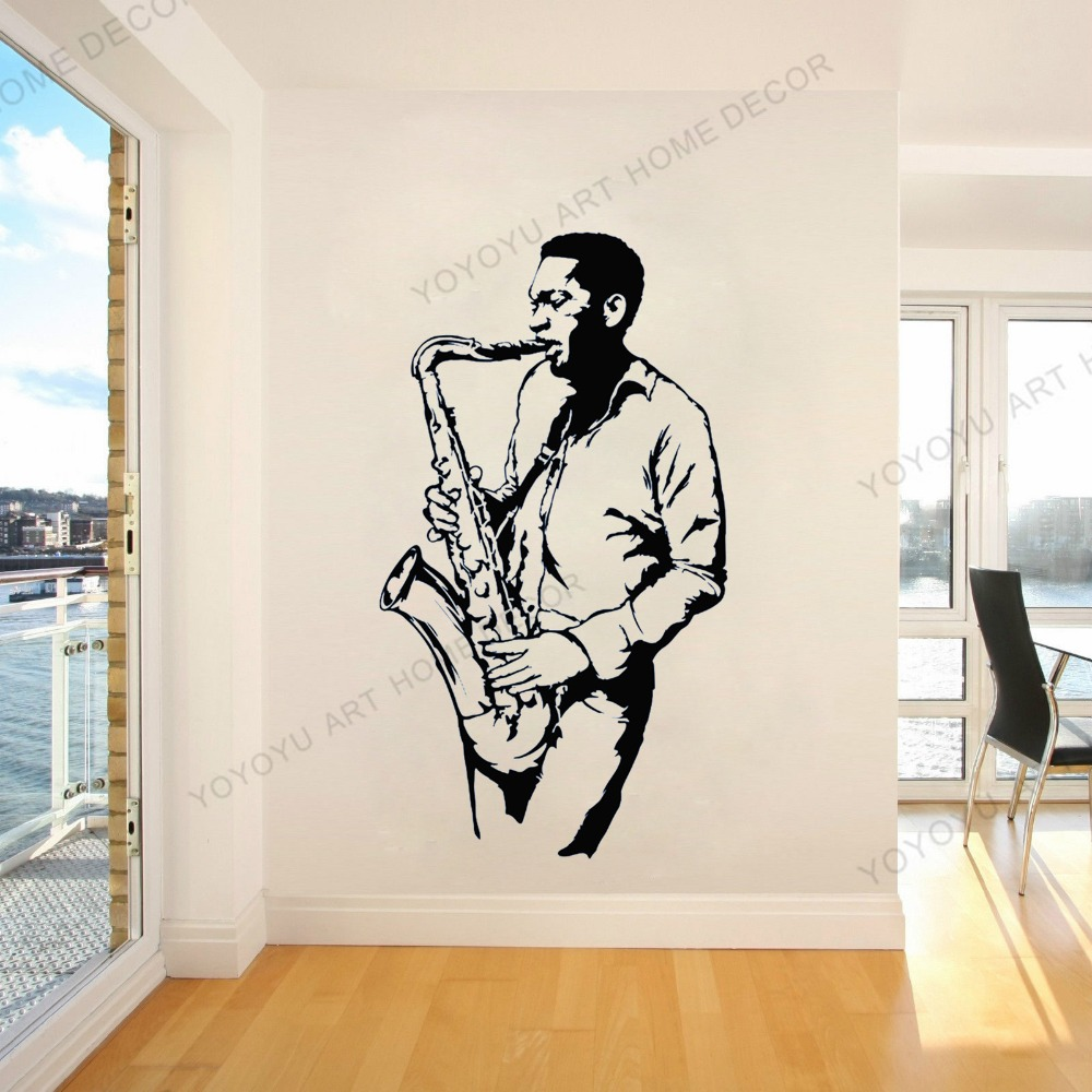 Saxophone Jazz Music Player Wall Stickers Mural Decal Poster 3d Effect Home Shop Office Nursery Decor VC1