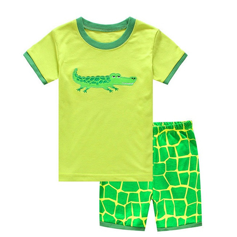 TUONXYE Children's Cute Crab Design Nightwear Boys Short Sleeve Pajamas Set Kids Pijama for Summer Home Wear Clothing 4