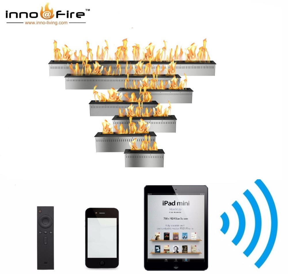 Hot Sale 72 Inches Remote Fireplace Ethanol Burner Wifi Control Modern Chimney