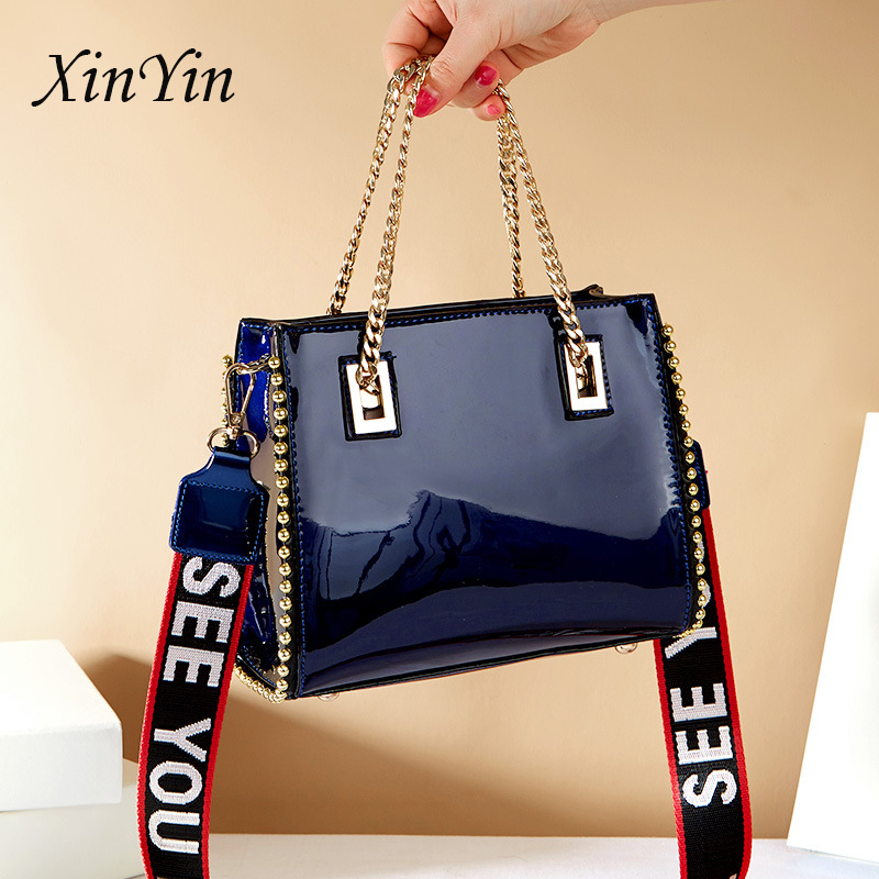 Trendy Large Sequin Chain Bead Shoulder Bags Dsigner Patent Leather Tote Bags Crossbody Bags For Women With Wide Shoulder Strap