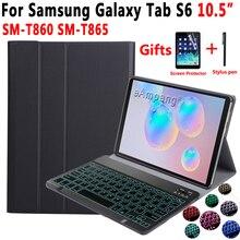 S6 Backlit Teclado Caso para Samsung Galaxy Tab 10.5 2019 SM T860 SM T865 T860 S6 T865 Caso de Teclado para Samsung Tab 10.5 tampa