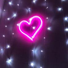 Неоновая вывеска в форме сердца настенный неоновый светильник