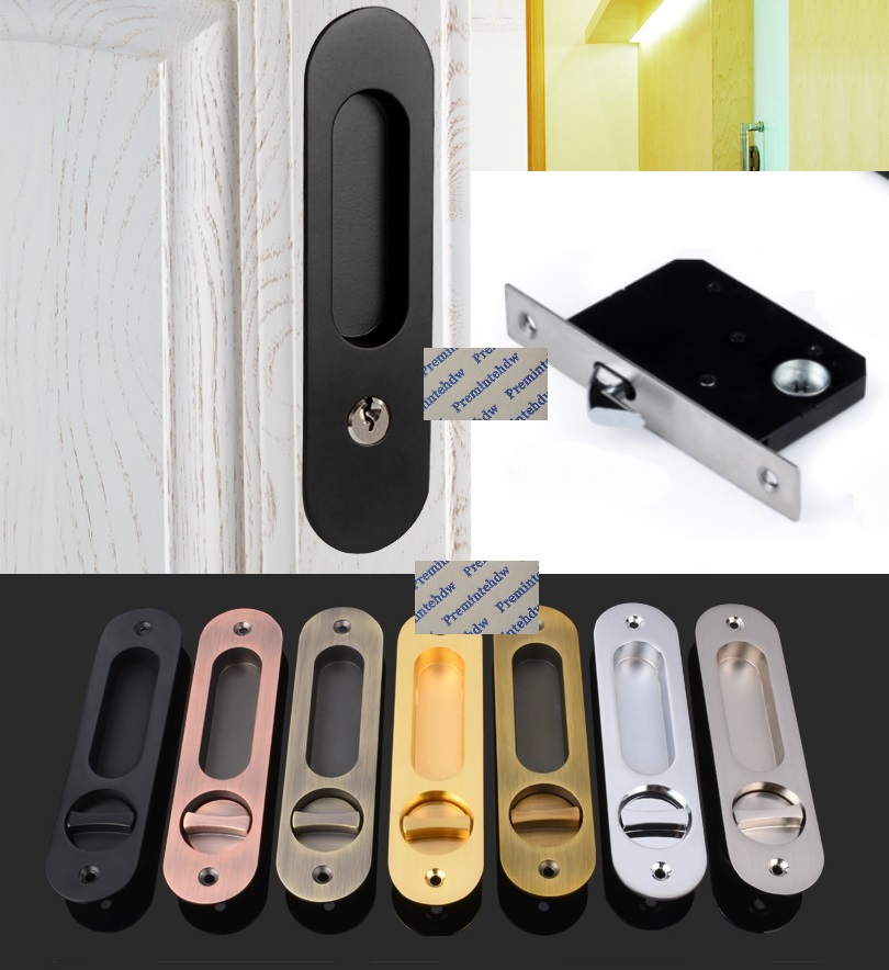 Oval-shaped Oval Mortise Sliding Wooden Pocket Door Lock Set Hook Bolt Recessed Flushed Finger Pull Thumbturn Matte Black Red Bronze Copper Chrome Nickel Brushed Gold