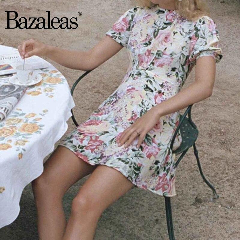 Женское платье с круглым вырезом Bazaleas, винтажное платье с цветочным принтом и оборками, лето 2019|Платья|   | АлиЭкспресс