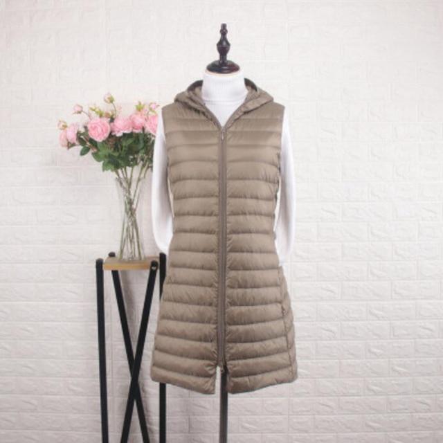 SEDUTMO Winter  Womens Down Coat Long Hooded Vest Ultra Light Waistcoat Autumn Slim Jacket Parkas ED915 2
