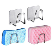 Silver Sponge Shelf Wall Stainless steel Dishwashing Holder Kitchen Organizer Storage Hook