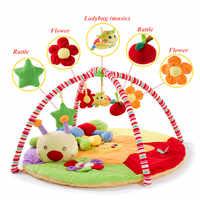 Baby Aktivität Matte mit rack Musical Weiche Baumwolle Kriechende Matte Runde bett Infant Fitness Teppich Geschenk Für Kinder moving bed baby Gym