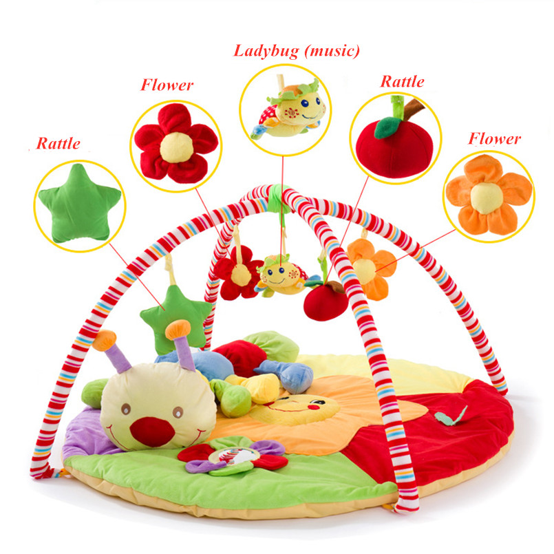 Baby Activity Mat with rack Musical Soft Cotton Crawling Mat Round bed Infant Fitness Carpet Gift For Kids moving bed Baby Gym