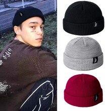 Модная мужская зимняя шапка унисекс с манжетами, вязаная шапка, короткая Лыжная вязаная шапка с дыней, осенняя зимняя однотонная Повседневная шапка