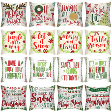 Merry Chirstmas Cushion Cover Soft Linen for Sofa Car Christmas Decorations Home Kussenhoes 18x18