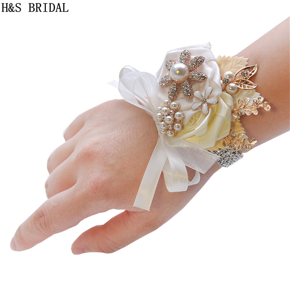 Ivory White Wrist Corsage Bridesmaid Sisters Hand Flowers Artificial Wrist Flowers For Wedding Dancing Party Decor Bridal Prom