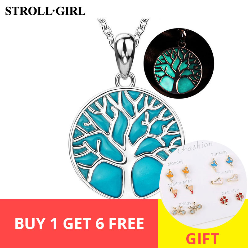 personalized Sterling silver 925 tree of life pendant chain necklace with glowing enamel diy fashion jewelry making for gifts in Chain Necklaces from Jewelry Accessories