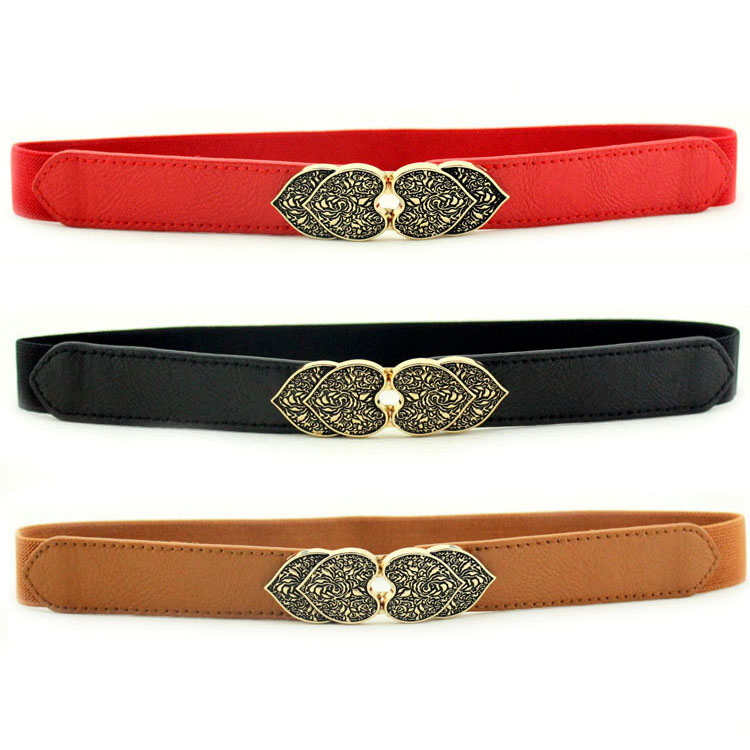 Clothes Accessories Leather Flower Women Waist Belt 2.8cm Wide Elastic Belt For Women Girl Vintage Straps Unique Design Gift