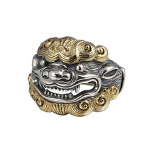 925 sterling silver Jewelry Animal Lucky Brave Troops Opening Ring Men Women Adjustable Ring недорого