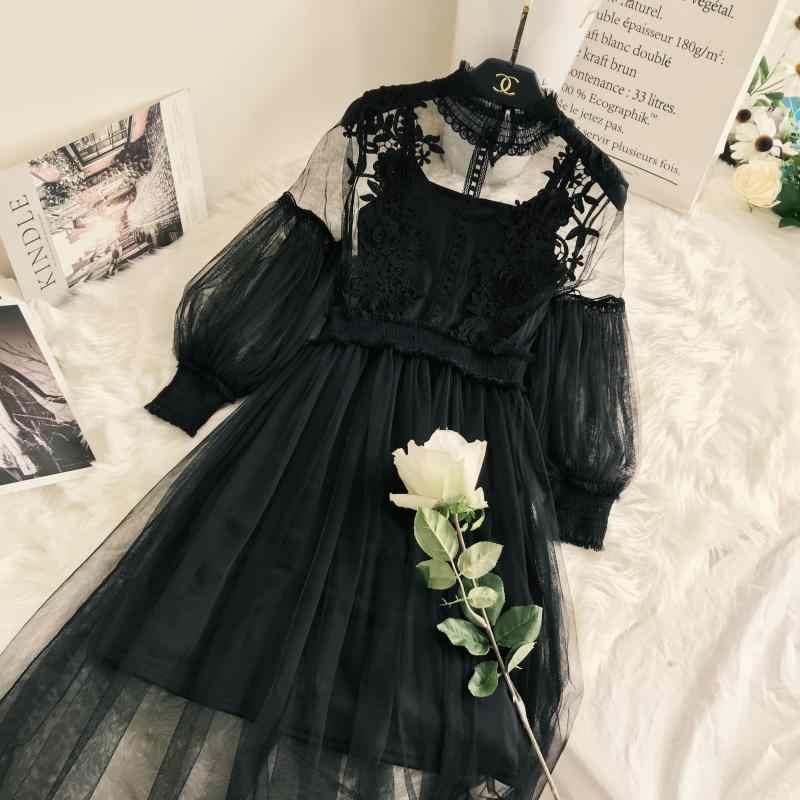 새로운 도착 여자 레이스 꽃 드레스 긴 거즈 랜턴 슬리브 Voile 긴 드레스 여성 레트로 후크 공주 드레스 2 조각 세트