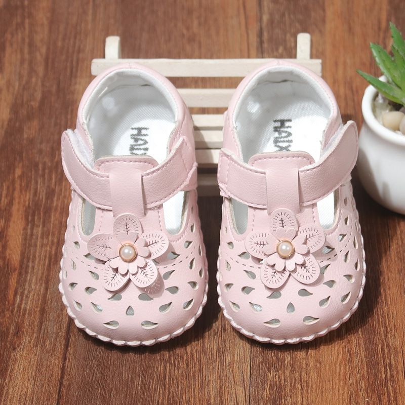 Infant Girls Sandals Shoes Summer Kids Baby Flower Shoes Hollow Soft Leather Sandals Children Toddler Shoes Cute 0-1 Years Old