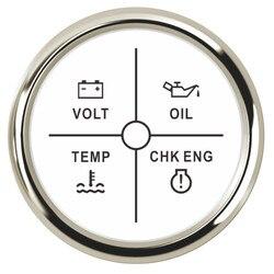 52mm 2 ''4 led cyfrowy woltomierz samochodowy Alarm miernik miernik ciśnienie oleju temperatura wody Alarm silnika z czerwone podświetlenie 9 ~ 32V