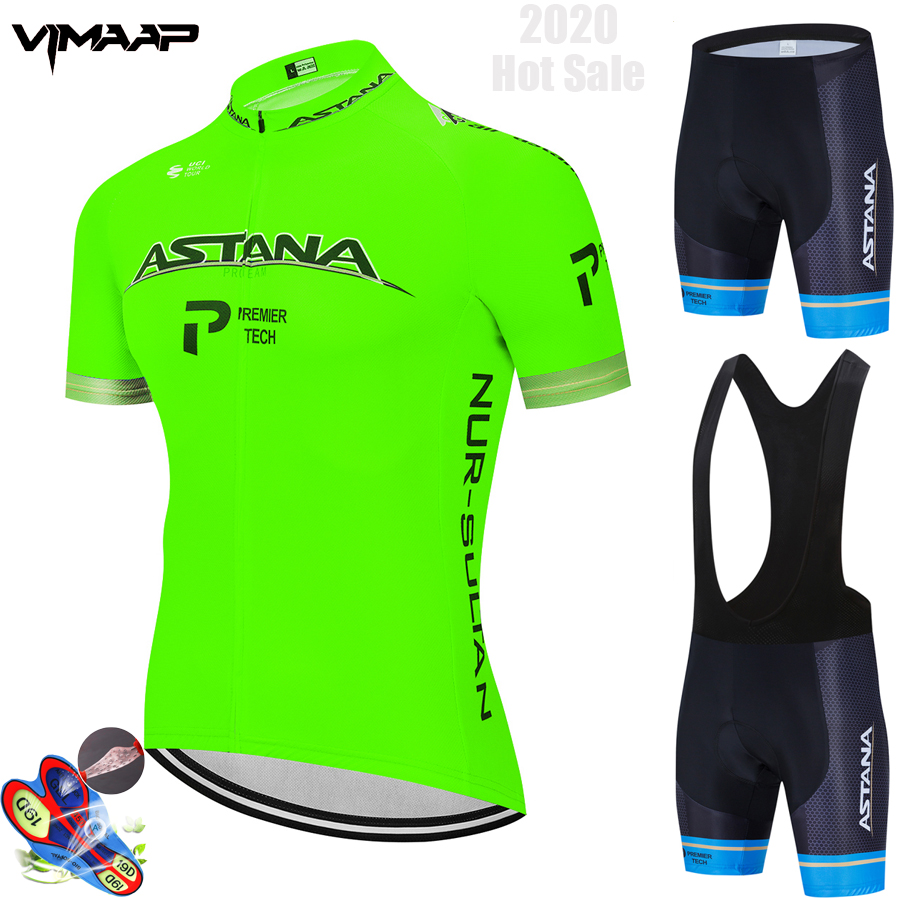 Fluorescent ASTANA Cycling Clothing Bike Jersey Quick Dry Mens Bicycle Clothing Summer Team Cycling Jersey 19Gel Bike Shorts Set