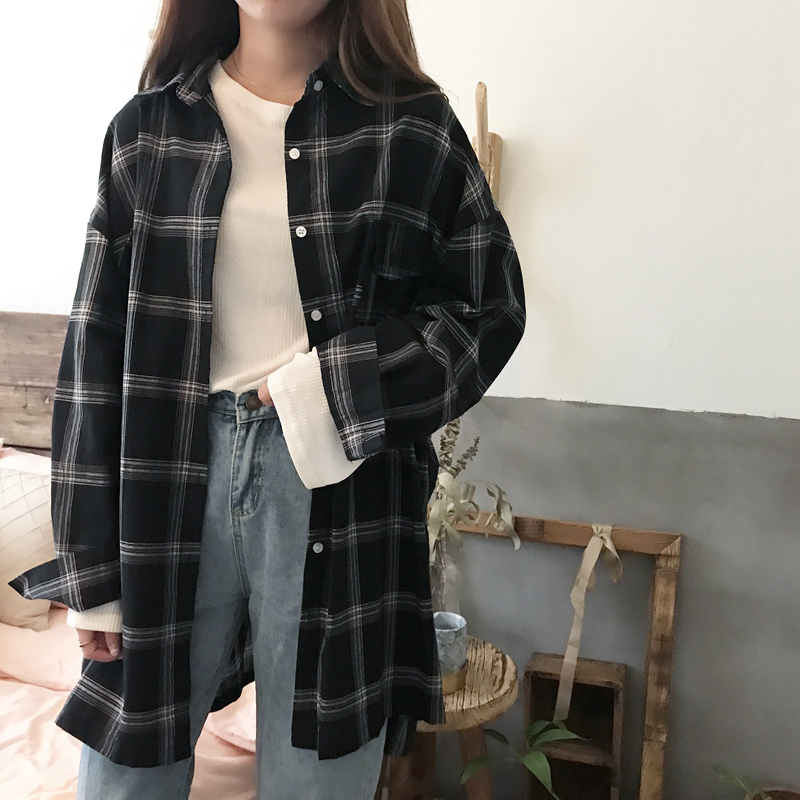 Women Shirts Casual Plaid All-match Loose Long Sleeve Students Daily BF Ulzzang Single Breasted Womens Korean Style Harajuku