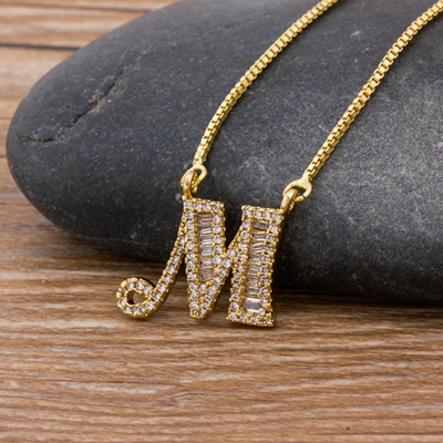 Luxury Gold Color A-Z 26 Letters Necklace CZ Pendant for Women Cute  Initials Name Necklace Fashion Party Wedding Jewelry Gift 26