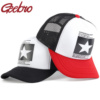Geebro Fashion Five Star Pattern Baseball Cap Women Outdoor Baseball Hat Breathable Men Women Summer Mesh Caps Snapback Gorras fashion five pointed star shape embroidery camouflage pattern baseball cap for men