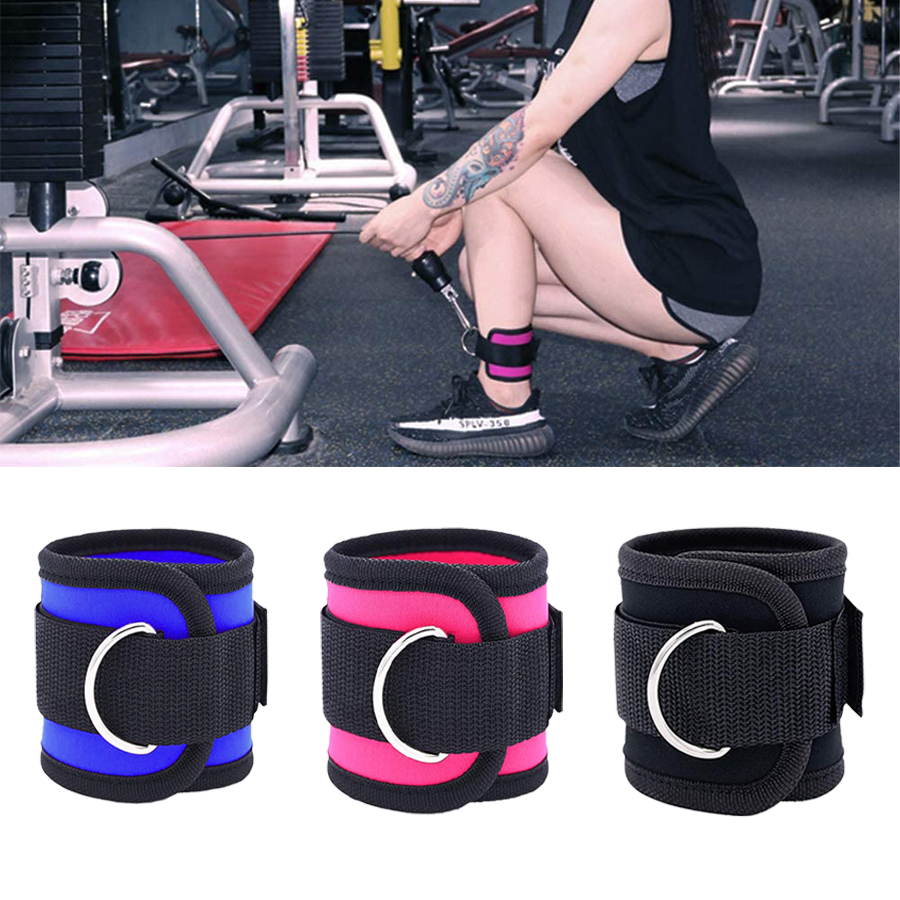 Ankle D Ring Weight Lifting Straps Cable Attachment Strap Fitness Exercise Gym