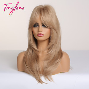 Image 3 - TINY LANA Ombre Brown Blonde Medium Length Straight Synthetic Wigs Layered Hairstyle  Wigs with Bangs for Women African Amer
