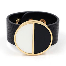 Exaggerated Geometric Wide Bracelet Alloy Black &White PU Leather  Bracelet for Female Women Party  Nightclub Jewelry Bangle chic exaggerated alloy cuff bracelet for women
