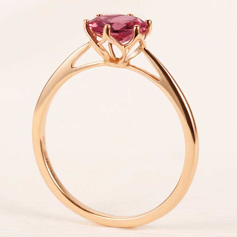 Natural Red Ruby Rings For Women 18k Rose Gold 1.2CT Red Gemstone Wedding Female Ring Engagement Party Fine Jewelry Gifts