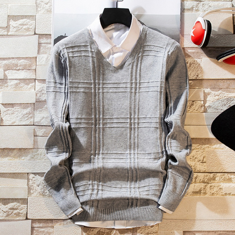 Men Casual Solid Color Sweaters 2019 New Knit V-Neck Long Sleeve Pullover Knitwear Sweater Spring And Autumn