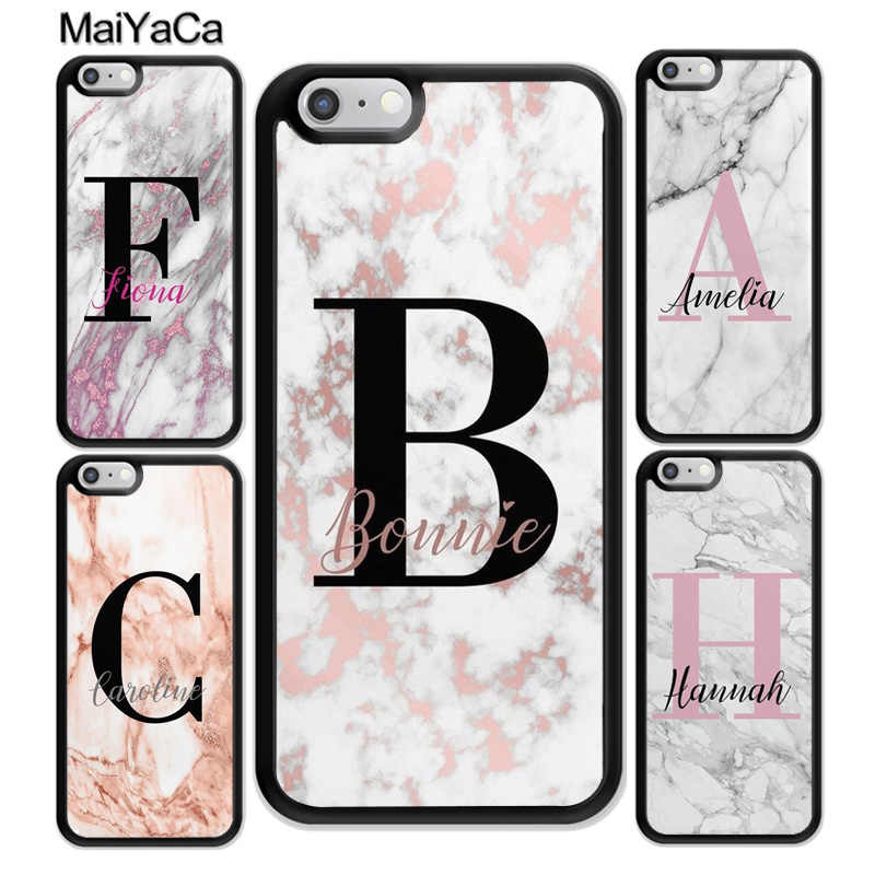Personalised White Pink Marble initials Name Custom Case For