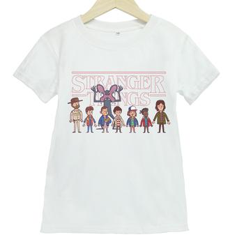 Stranger Things nadruk kreskówkowy z krótkim rękawem T-shirt chłopięcy i dziewczęcy letni sport i rozrywka z krótkim rękawem T-shirt dziecięcy tanie i dobre opinie beiletong COTTON CN (pochodzenie) Lato 25-36m 4-6y 7-12y 12 + y Damsko-męskie moda W stylu rysunkowym Z okrągłym kołnierzykiem