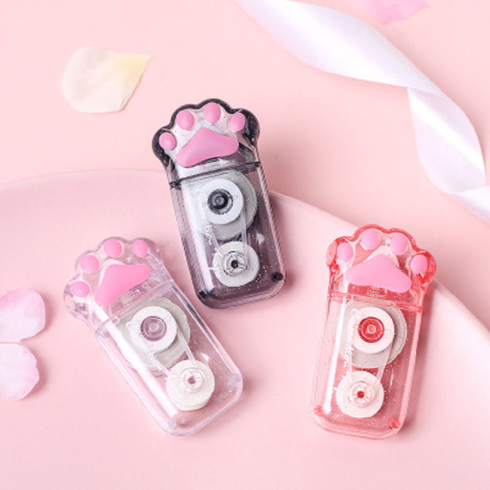 1Pcs Kawaii Correction Tape Cartoon Transparent Black Pink Cat Claw Paw Correction Tape Stationery School Stationery
