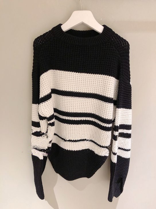 Fall/winter 2019 Black Sweater New Thick Striped Wool Sweater Pullover Lace Sweater Women Pullovers Sweater Women