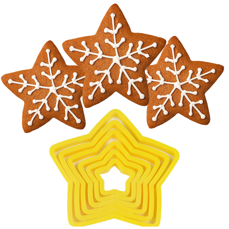 Transhome-Christmas-Cookie-Cutters-6Pcs-Set-3D-Plastic-Five-pointed-Star-Biscuit-Mold-DIY-Baking-Tools (3)