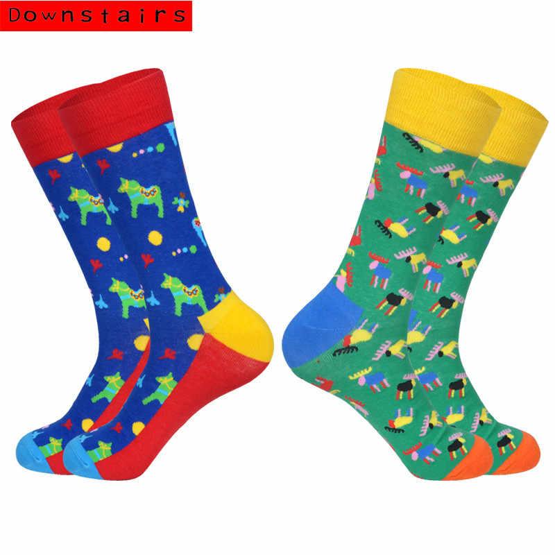 Внизу, наборами по 2 пары в партии, носки для Для мужчин 2019 недавно Для мужчин Акула рыба кот в стиле «хип-хоп» дизайнерское платье Happy Новинка Рик и Морти