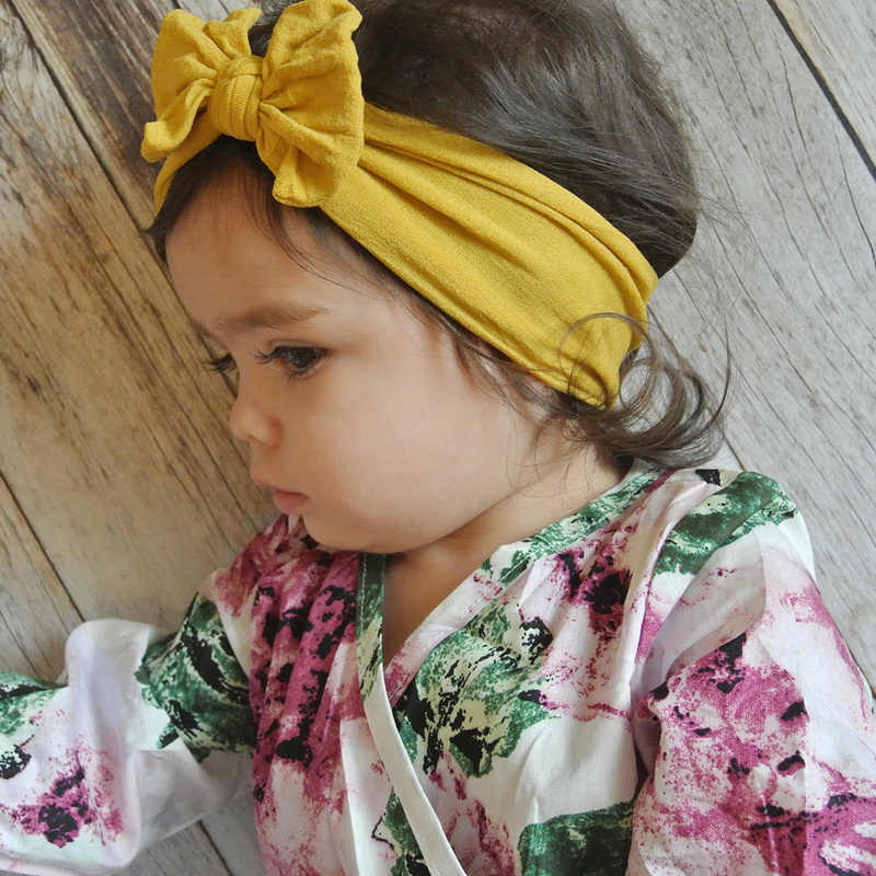 21 Colors Baby Girl Headband Lovely Bow Knotted Kids Hair Accessories for Newborn Toddler Children Girls Turban Solid Headwear