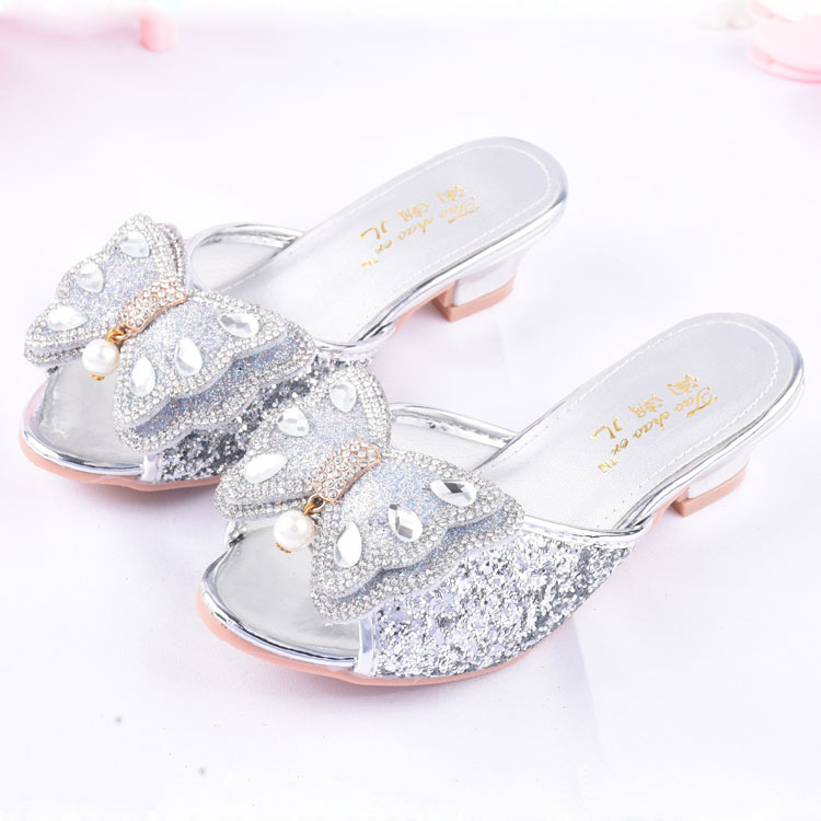 Children High Heel Slippers Middle And Large Small CHILDREN'S Bow Rhinestone Shoes Summer A- Line Sandals Fashion Girls Princess